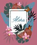 Συρμένη χέρι εγγραφή της Χαβάης Aloha και τροπικά φυτά, φύλλα και λουλούδια r ελεύθερη απεικόνιση δικαιώματος