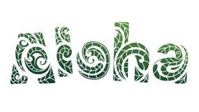 Aloha elegant lettering with Maori style. Elegant lettering in Maori style. Aloha translation Hello from Hawaiian Royalty Free Stock Photos