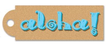 Aloha etiqueta Imagen de archivo libre de regalías