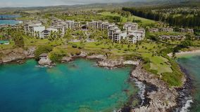 Stunning landscape of fashionable resort montage kapalua which drowned in green luxury of plantings on island maui. Aloha from fashionable resort on maui in stock video