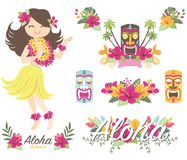 Aloha Floral Flamingo illustrazione di stock
