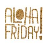 Aloha fredag! - citationstecken som dras av sand royaltyfri illustrationer