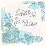 Aloha Friday jungle palm leaves Royalty Free Stock Images