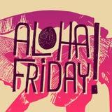 ¡Aloha Friday! - la cita del vector para viernes se relaja Imagen de archivo