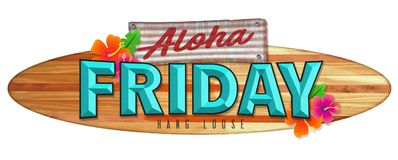 Aloha Friday Surfboard Sign. Longboard Wood Hawaii Vintage Retro colorful flowers tropical vacation travel stock illustration