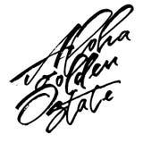 Aloha Golden State Iscrizione moderna della mano di calligrafia per la stampa di serigrafia Immagini Stock
