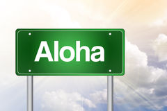 Aloha Green Road Sign Foto de archivo