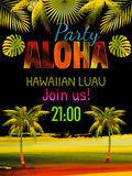 Aloha hawaiansk partimallinbjudan Royaltyfria Foton