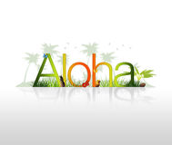 Aloha - Hawaii. High Resolution graphic of the word Aloha with tropical elements Royalty Free Stock Photo