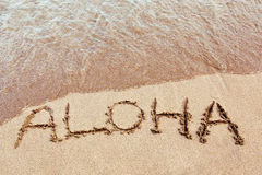 Aloha from hawaii. Aloha written in the sand on a Hawaiian beach Royalty Free Stock Image