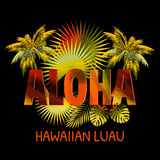 aloha hawaii Aloha T-tröjadesign Arkivfoton