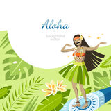 Aloha hawaii background. With girl on surf flying over the leaves dancing hula dance Royalty Free Stock Photos