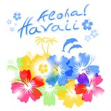 Aloha Hawaii Background. With palm trees silhouettes and hibiscus flowers Stock Photo