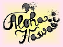 Aloha Hawaii-Beschriftungsvektor Stockfotos