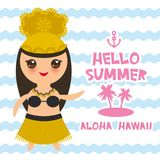 Aloha Hawaii Card design Hawaiian Hula Dancer Kawaii girl. Hello summer blue waves sea ocean palm tree background. banner template. Card design. Vector Royalty Free Stock Images