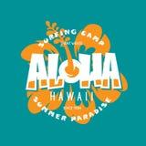 Aloha hawaii floral t-shirt print. Vector vintage illustration. Royalty Free Stock Photo