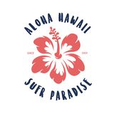 Aloha hawaii floral t-shirt print. Vector vintage illustration. Royalty Free Stock Images