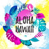 ALOHA HAWAII gteeting baner Tropiska palmblad och rosa dragen borstebakgrund för flamingo förestående Royaltyfria Foton