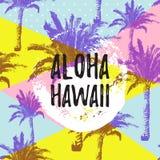 ALOHA HAWAII gteeting baner Tropiska palmblad och rosa dragen borstebakgrund för flamingo förestående Arkivfoto