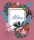 Aloha Hawaii hand drawn lettering and tropical plants, leaves and flowers. Vector illustration royalty free illustration