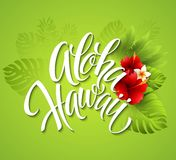 Aloha Hawaii. Hand lettering with exotic flowers Stock Photos