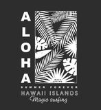 Aloha hawaii islands t-shirt print. Aloha hawaii islands illustration with palms tree illustration for t-shirt print , vector illustration Stock Photos