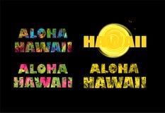 aloha Hawaii Koszulka druki z kolorowymi palmowymi liśćmi Zdjęcia Stock