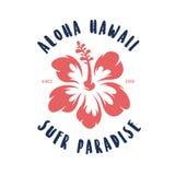 Aloha Hawaii koszulki kwiecisty druk Wektorowa rocznik ilustracja Obrazy Royalty Free