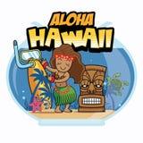 Aloha Hawaii kreskówki projekt ilustracja wektor