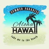 aloha Hawaii Lata paradice Bierze ja yo plaża Wektorowa ilustracja dla koszulki i inny uses Zdjęcie Stock
