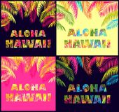 Aloha Hawaii lettering variation with colorful palm leaves for t shirt fashion prints. Greeting colorful card with Aloha Hawaii lettering variation with colorful stock illustration