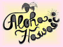 Aloha Hawaii lettering vector. Vector hand-drawn lettering. Aloha Hawaii inscription for prints and posters, menu design, invitation and greeting cards Stock Photos