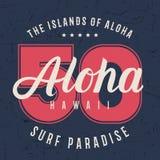 Aloha Hawaii literowania typografia, koszulek grafika projekt, koszulowy druk na grunge teksturze Obrazy Stock
