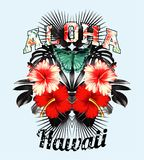 Aloha Hawaii. Pink hibiscus and black leaves mirror illustration. Slogan aloha hawaii illustrated black and white tropical leaves, red and pink hibiscus flowers stock illustration