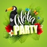 aloha Hawaii Ręki literowanie z egzotycznymi kwiatami Obraz Royalty Free