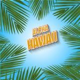 aloha Hawaii Ręki literowanie z egzotycznymi kwiatami Zdjęcie Stock
