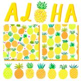 Aloha Hawaii summer background. Beach party illustration template, pattern, lettering for invitation card. Isolated stock illustration