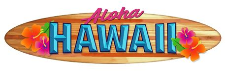 Aloha Hawaii Surfboard Sign. Longboard Wood Hawaii Vintage Retro colorful flowers tropical vacation travel stock illustration