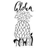 aloha Hawaii Typografia sztandar Ananasowa nakreślenie ilustracja Kaligrafia plakat Wektorowy literowanie Fotografia Royalty Free