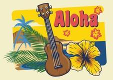 Aloha Hawaii ukulele w rocznika stylu royalty ilustracja