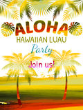 Aloha, Hawaiian Party Template Invitation. Best creative design for poster, flyer, presentation vector illustration