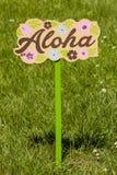 Aloha. A hawaiian themed Aloha lawn sign Stock Images