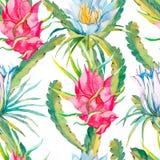 Aloha hawaiisches nahtloses Muster Exotische Blätter und Blumen Vektor Dragonfruit, pitaya, pitahaya Blüht pitaya Stockfoto