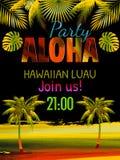Aloha, hawajczyka szablonu Partyjny zaproszenie Zdjęcia Royalty Free