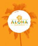 Aloha Hawaje lata Kreatywnie plaży projekta Tropikalny Wektorowy element royalty ilustracja
