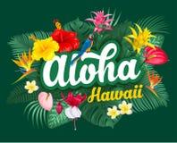 Aloha Hawaje literowanie i tropikalne rośliny ilustracji