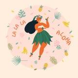aloha Hawajscy wakacje plakatowi z Hula tancerzem Zdjęcia Royalty Free