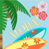 Aloha! Het strandaffiche van Hawaï Royalty-vrije Stock Afbeeldingen