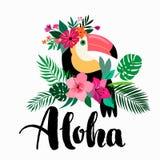 Aloha invitation/design de carte avec les éléments et le lettrage tropicaux de main illustration de vecteur