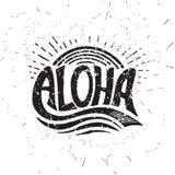 Aloha iscrizione praticante il surfing Illustrazione di calligrafia di vettore Fotografie Stock Libere da Diritti